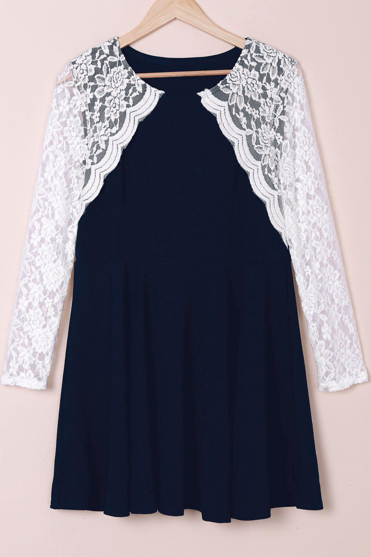 Stylish Round Collar Lace Splicing Plus Size Long Sleeve Women's Dress - DEEP BLUE 2XL