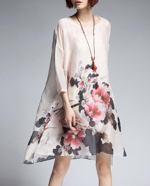 Flower Print Dress with Cami Dress - PINK S