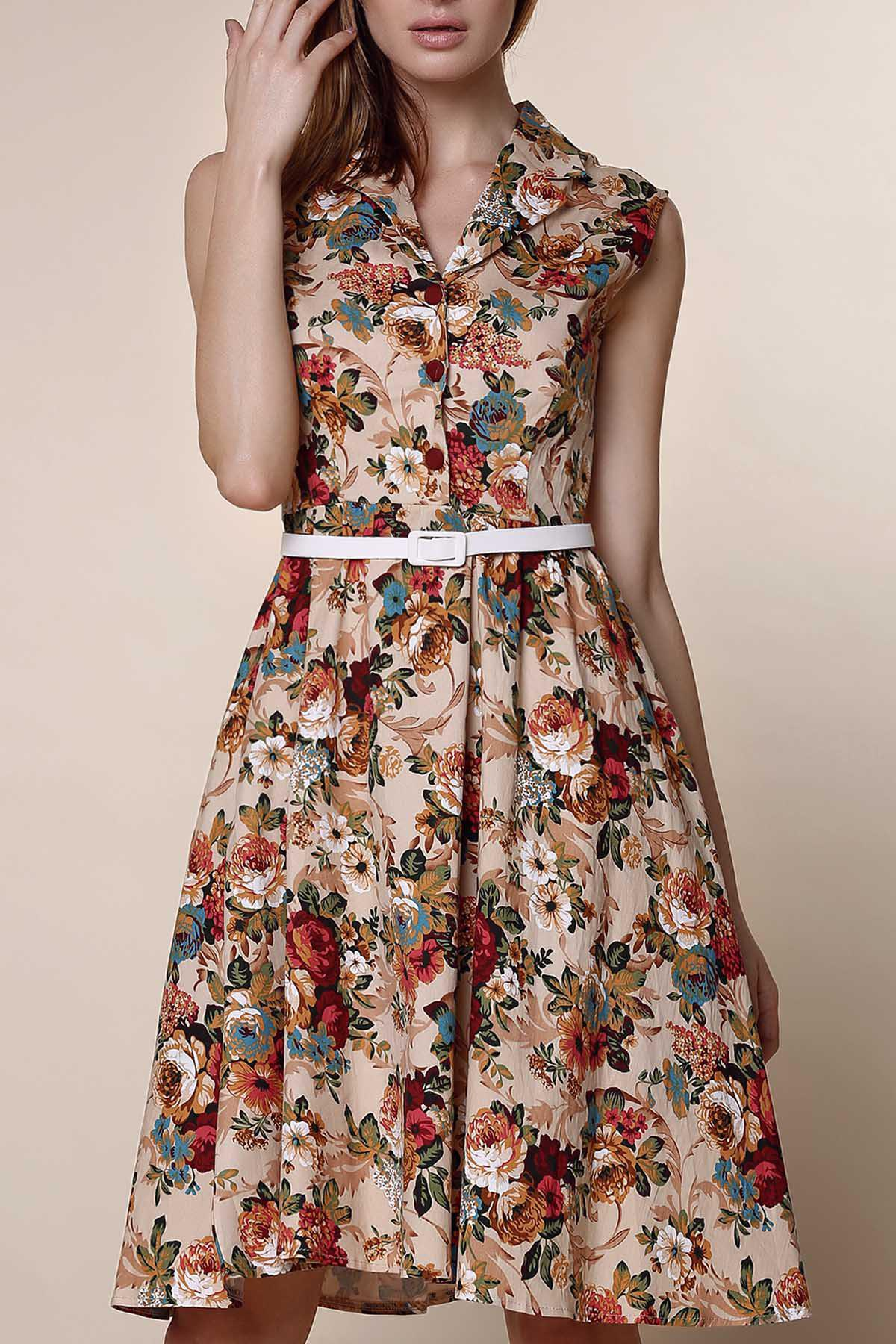 Retro Style Turn-Down Collar Sleeveless Floral Print Women's Ball Gown Dress - APRICOT S