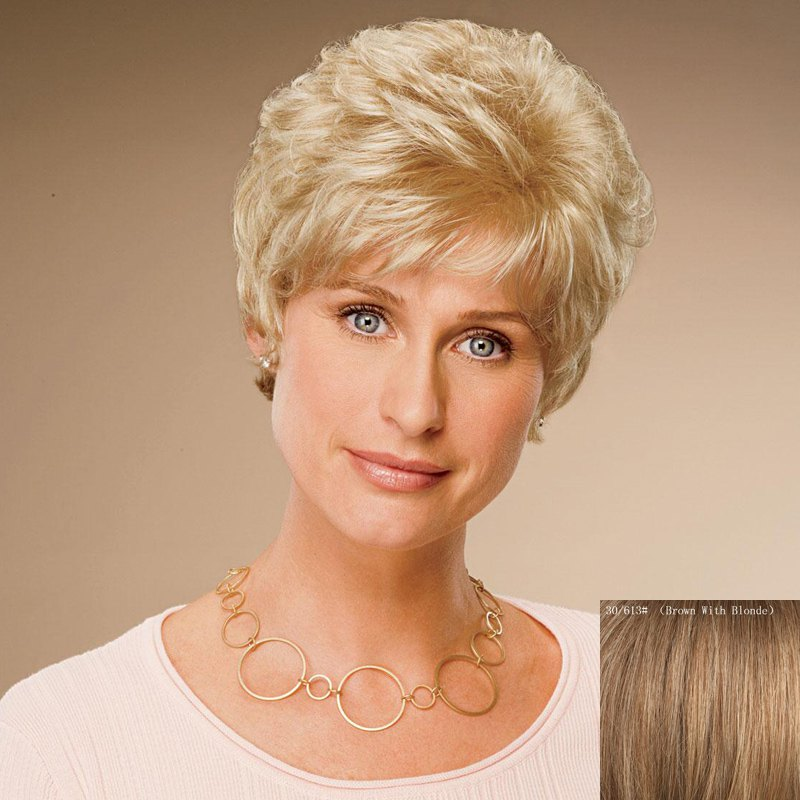 Flufyy Wavy Capless Ladylike Short Inclined Bang Real Human Hair Wig For Women - BROWN/BLONDE