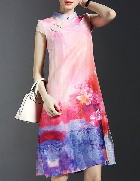 Trendy Pink Cami Dress and Print Side Slit Cheongsam Dress Twinset For Women - S LIGHT PINK