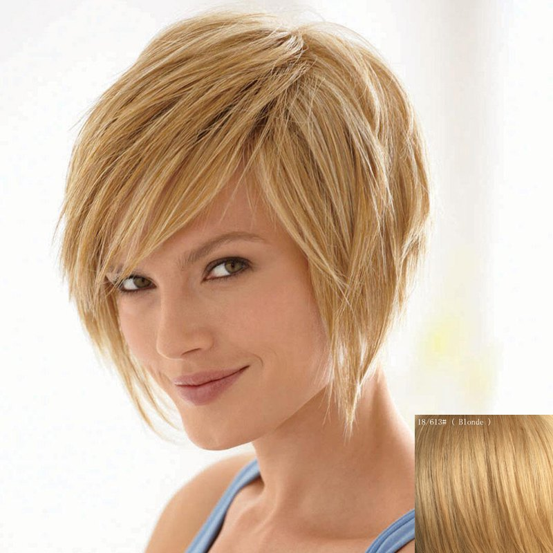 Bouffant Natural Straight Capless Vogue Short Side Bang Women's Human Hair Wig - BLONDE
