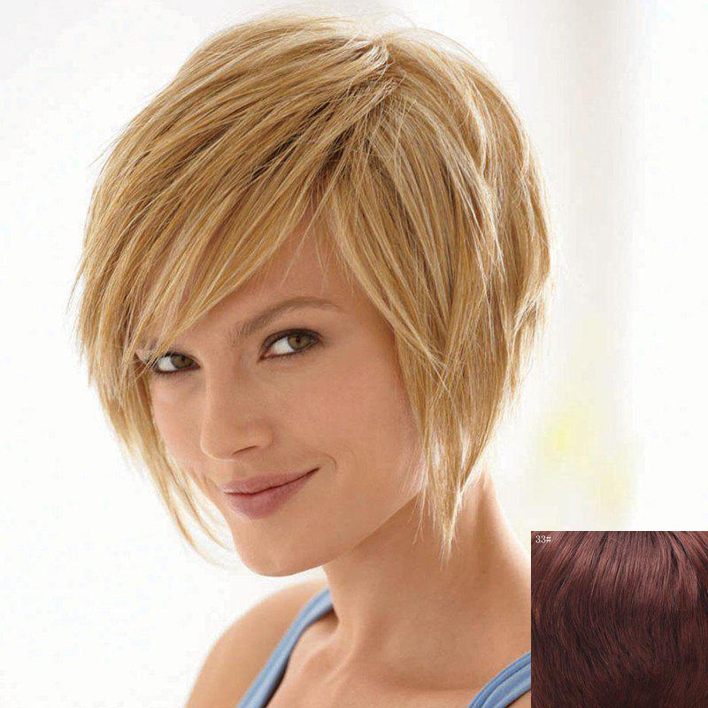 Bouffant Natural Straight Capless Vogue Short Side Bang Women's Human Hair Wig - DARK AUBURN BROWN