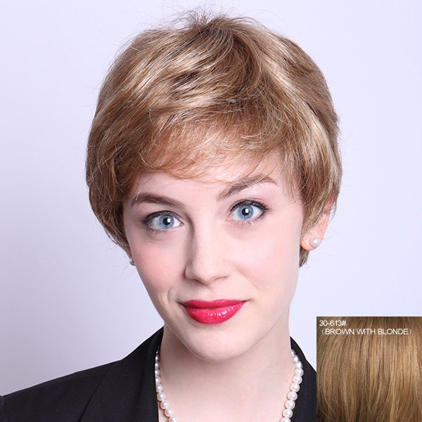 Fluffy Natural Wave Capless Stylish Short Side Bang Human Hair Wig For Women - BROWN/BLONDE