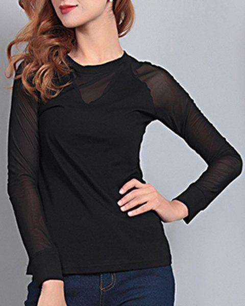 Elegant Women's Round Neck Long Sleeve Mesh Splicing T-Shirt от Dresslily.com INT