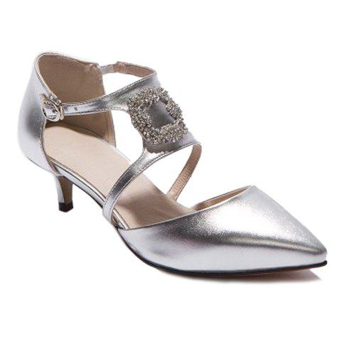 Fashionable Rhinestones and Pointed Toe Design Women's Pumps - SILVER 39