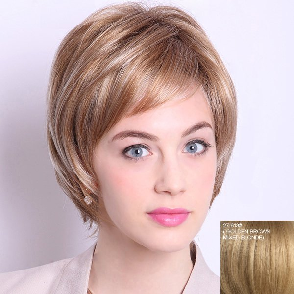 Fashion Short Layered Straight Noble Inclined Bang Capless Human Hair Wig For Women - GOLDEN BROWN/BLONDE