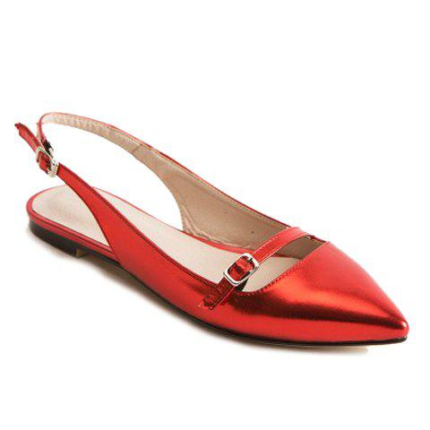 Fashionable Solid Colour and Double Buckle Design Women's Flat Shoes - RED 39