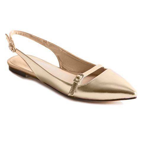 Fashionable Solid Colour and Double Buckle Design Women's Flat Shoes - GOLDEN 39