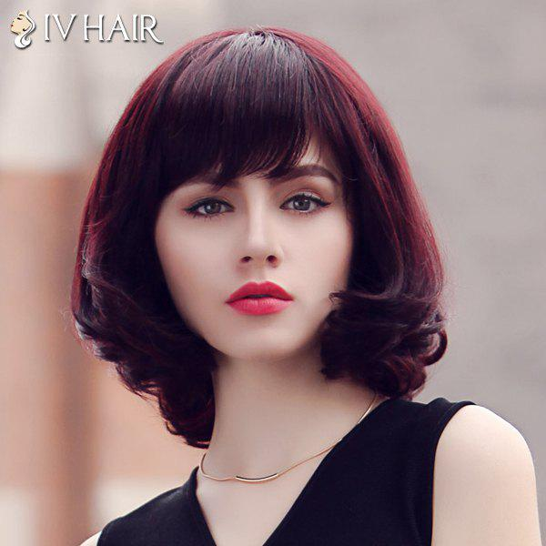 Fluffy Medium Siv Hair Neat Bang Human Hair Wig For Women