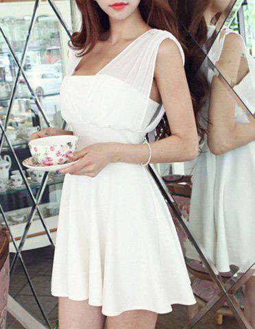 Trendy Sleeveless Square Neck Hollow Out Solid Color Women's Dress - WHITE L