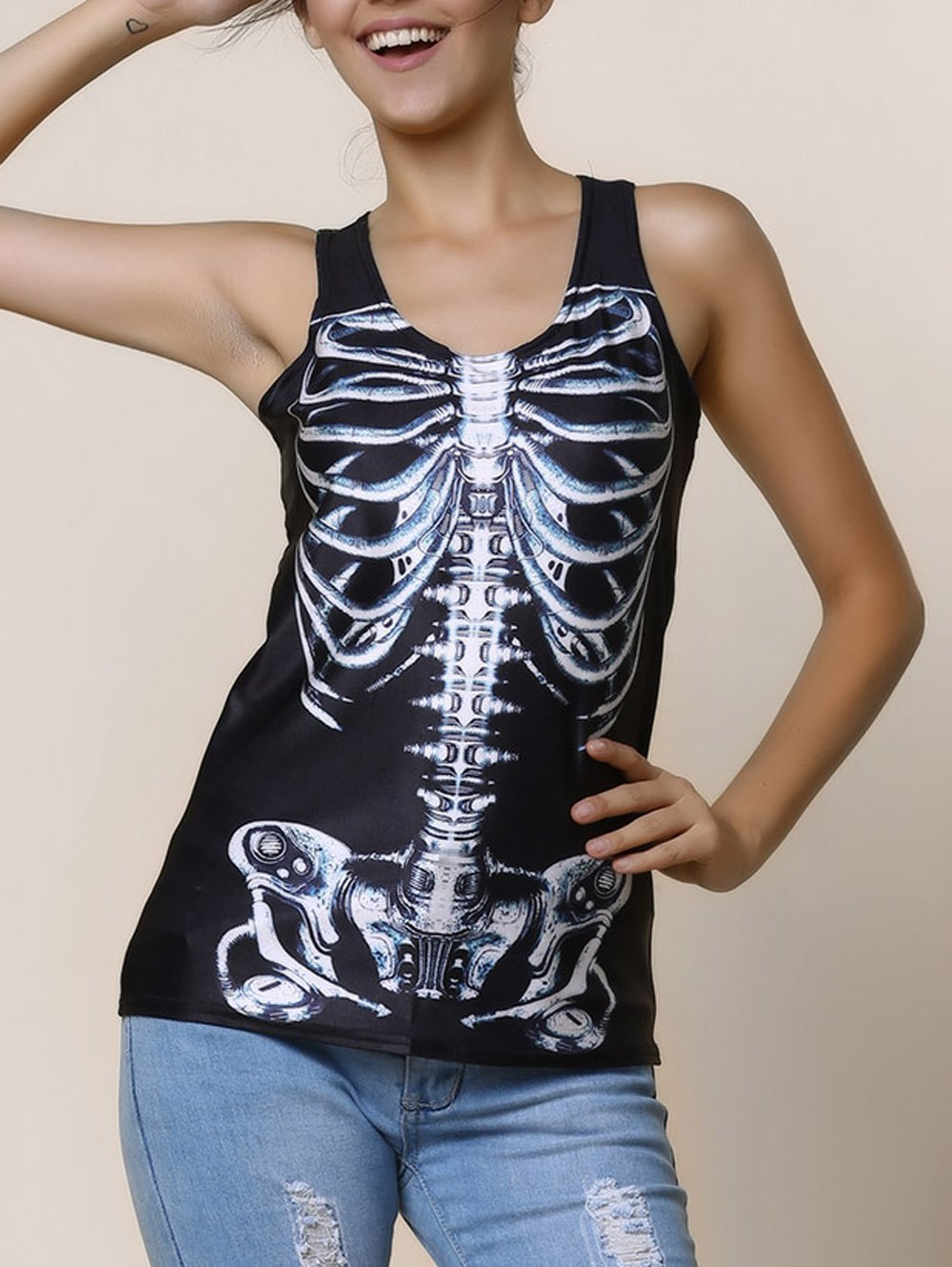Scoop Neck Print Slimming Black Tank Top For Women - BLACK ONE SIZE(FIT SIZE XS TO M)