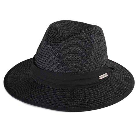 Chic Alloy Labelling and Black Lace-Up Embellished Covered Edge Women's Straw Hat