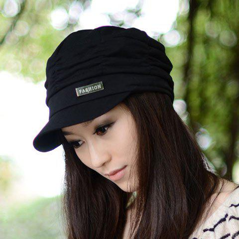 Chic Ruched and Solid Color Design Women's Visor - BLACK