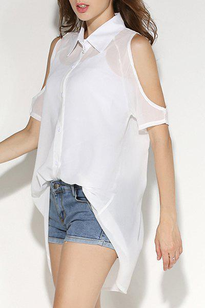 Shirt Neck Cold Shoulder Chiffon Blouse with Tank Top - WHITE M