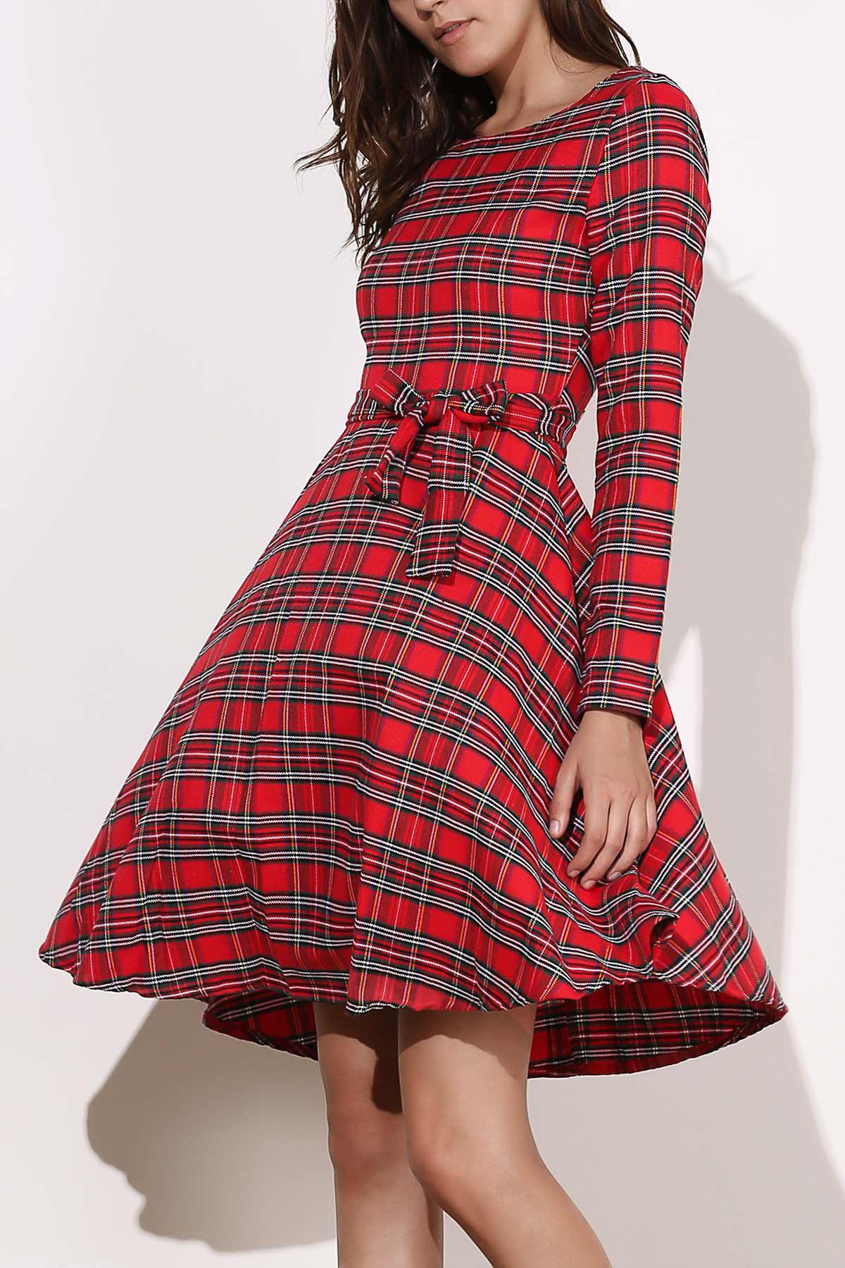 Vintage Women's Round Neck Long Sleeve Plaid Self-Tie Dress dark blue round neck plaid womens long sleeve dress