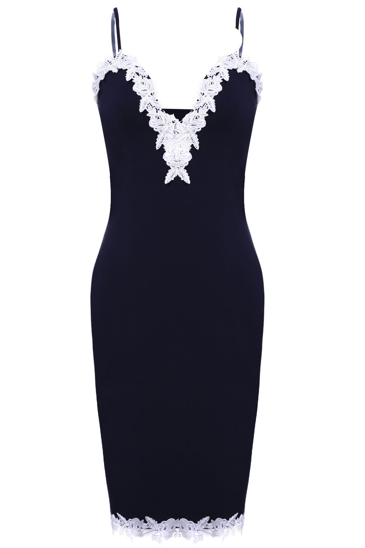 Sexy Ruffled Lace Spliced Spaghetti Strap Bodycon Dress For Women - PURPLISH BLUE S