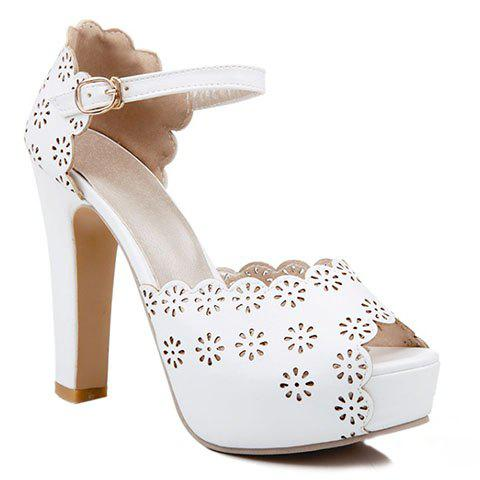 Trendy Engraving and Peep Toe Design Women's Sandals - WHITE 38