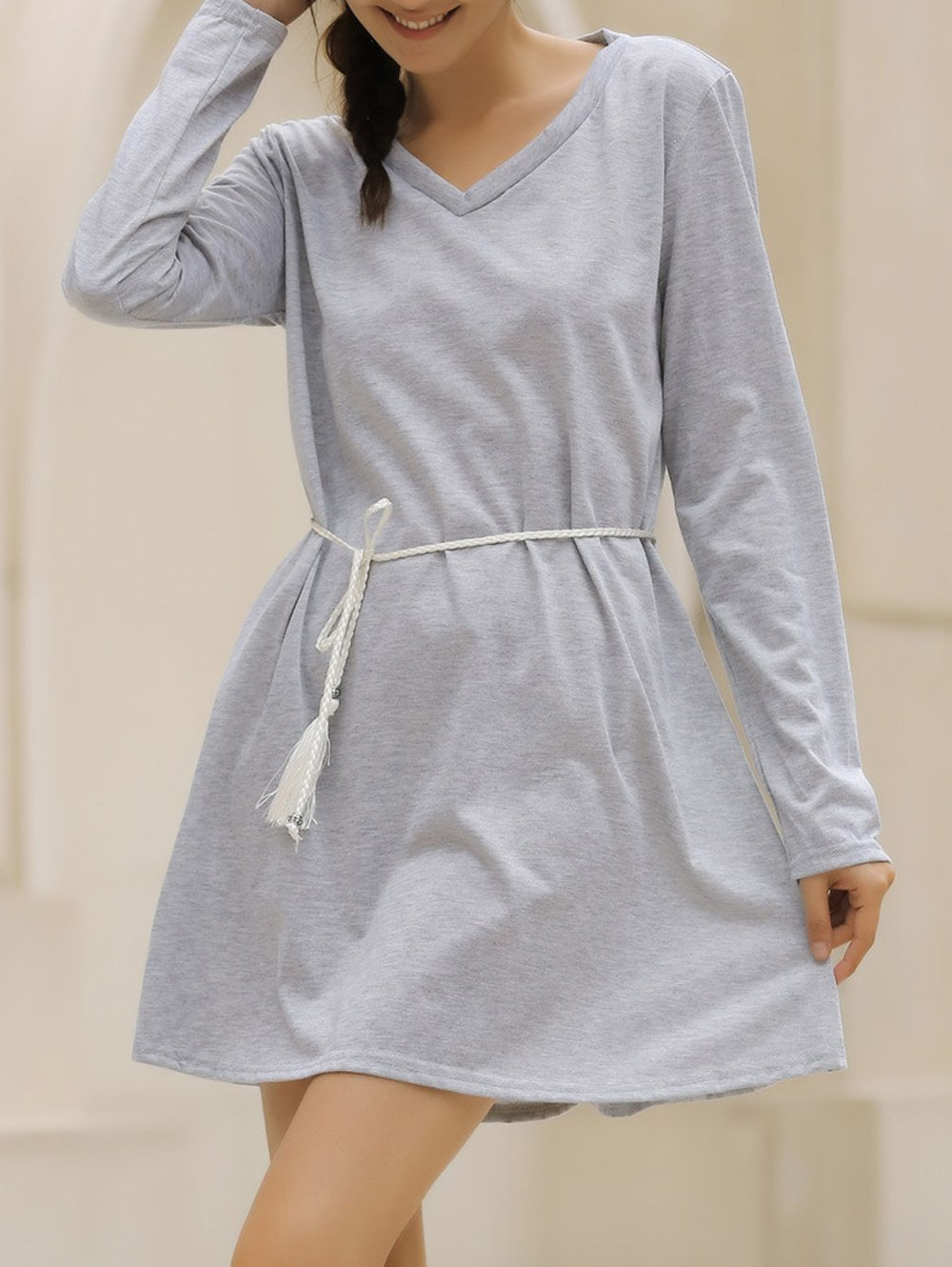 Casual V-Neck Loose-Fitting Long Sleeve Solid Color Dress For Women