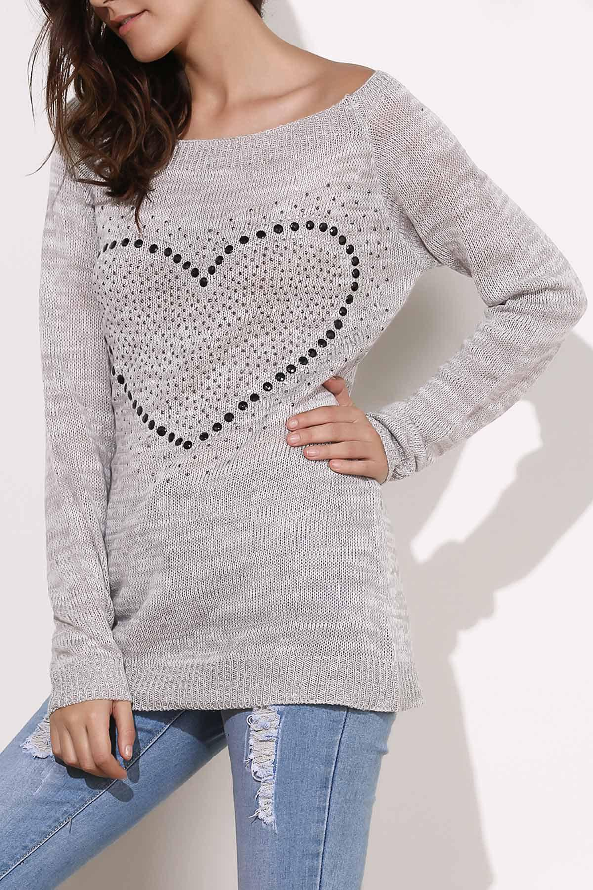 Boat Neck Embellished Sweater - LIGHT GRAY S