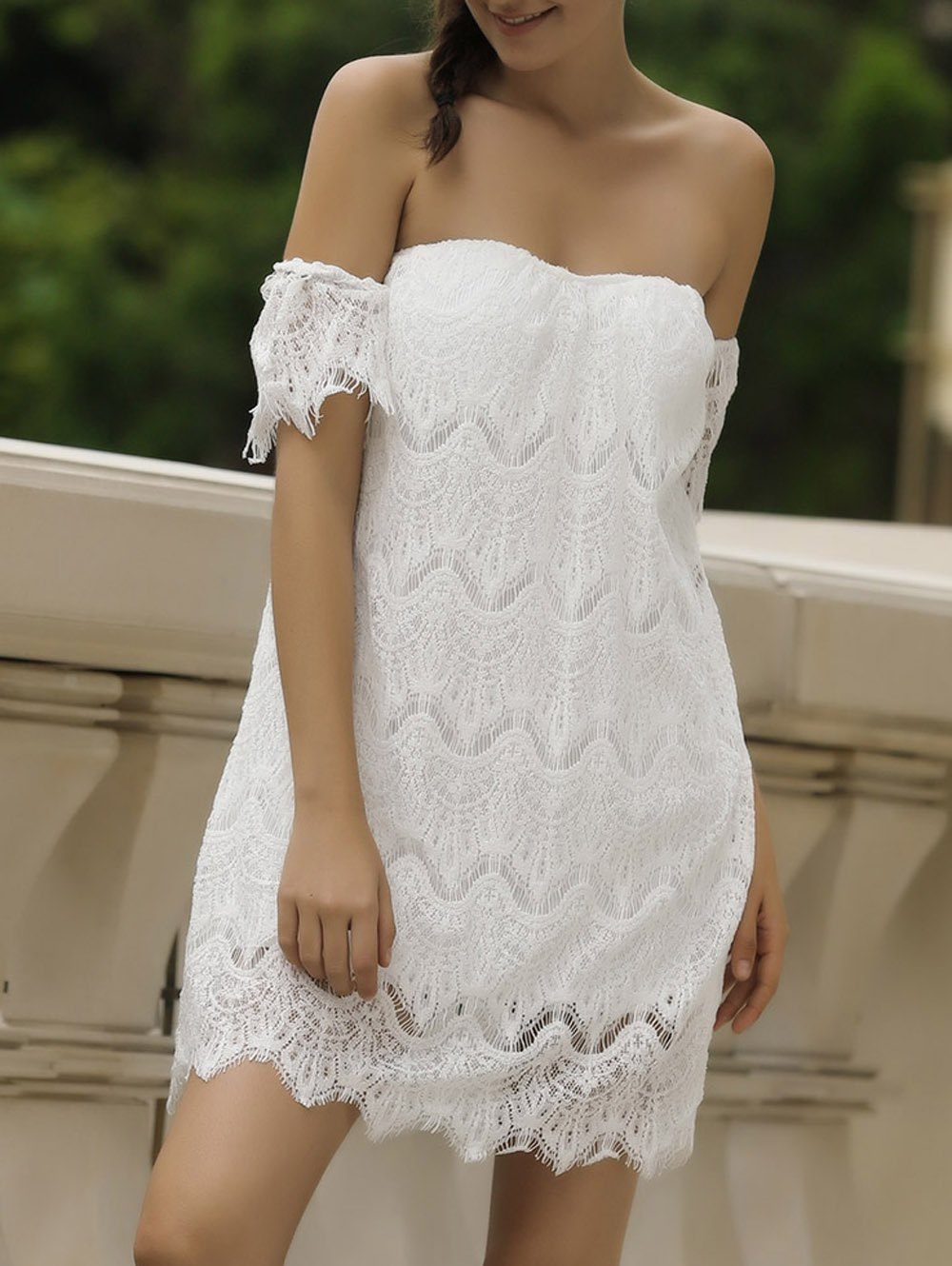 Sexy Short Sleeve Off-The-Shoulder Solid Color Lace Women's Dress - M WHITE