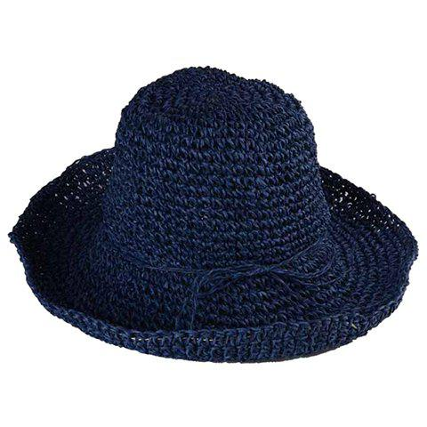 Chic Rope Lace-Up Embellished Flanging Women's Weaving Straw Hat - CADETBLUE