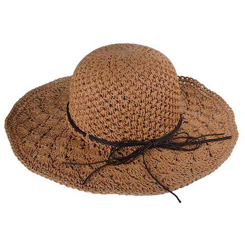 Chic Rope Lace-Up Embellished Hollow Out Crochet Women's Straw Hat - LIGHT COFFEE