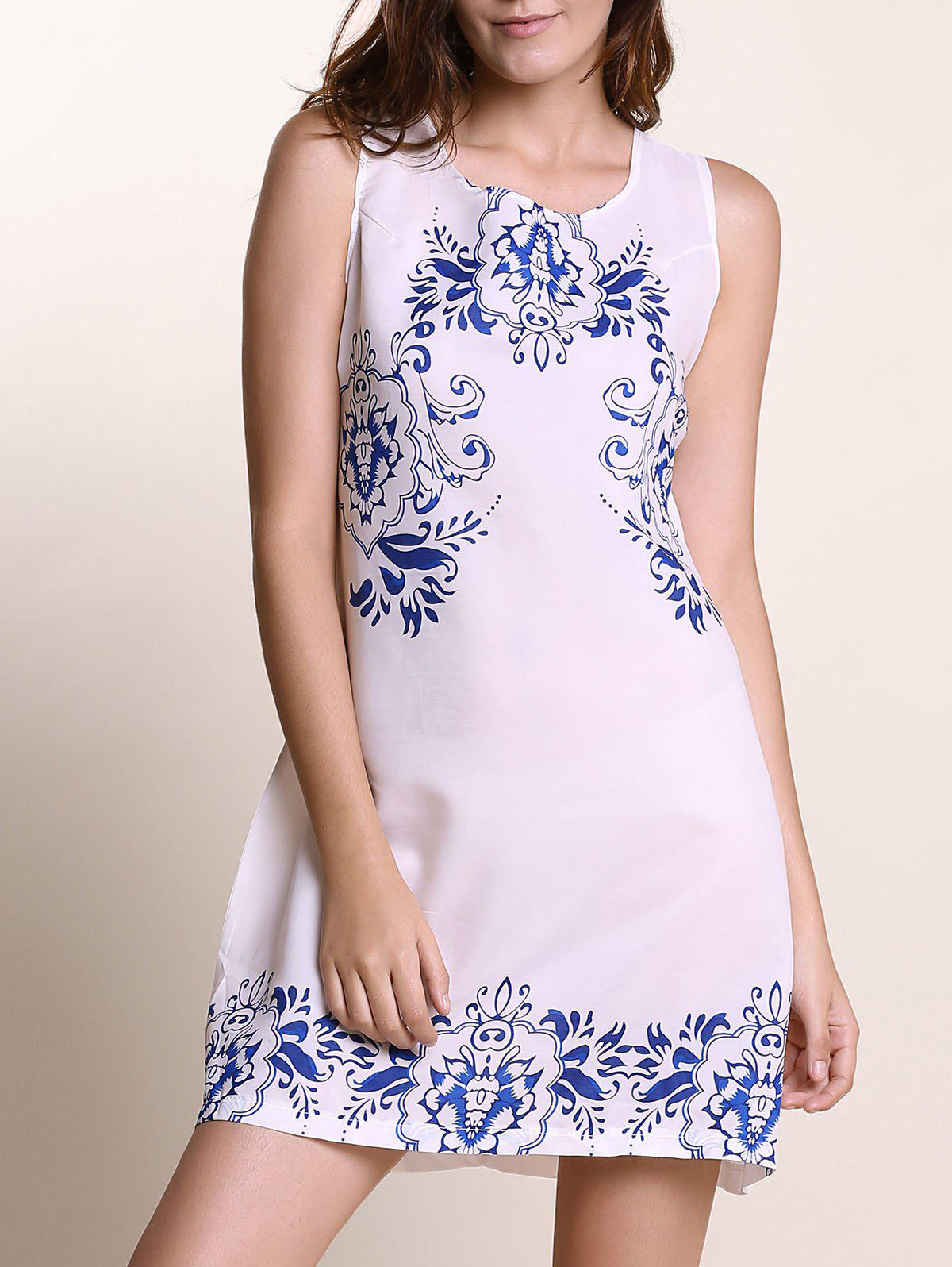 Ethnic Style Women's Round Neck Sleeveless Print Shift Dress - WHITE S