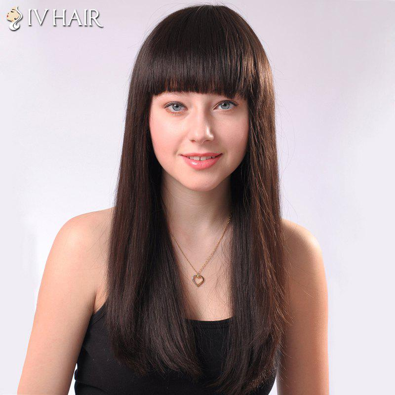 Ladylike Siv Hair Neat Bang Straight Human Hair Women's Wig - MEDIUM BROWN