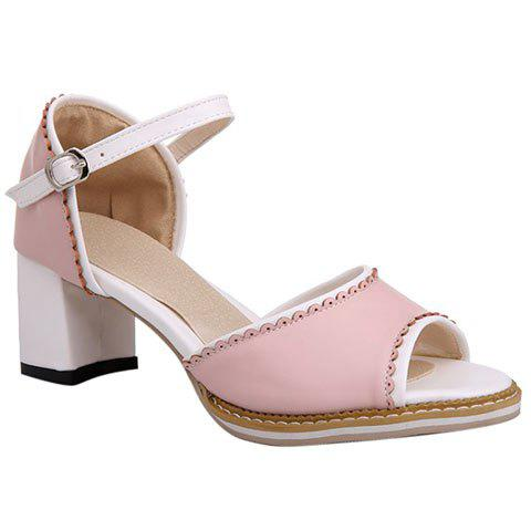 Fashionable Chunky Heel and Colour Matching Design Women's Sandals - PINK 34