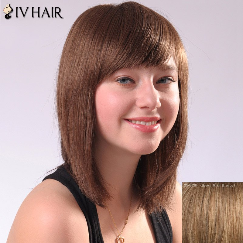 Ladylike Siv Hair Side Bang Straight Human Hair Women's Wig - BROWN/BLONDE