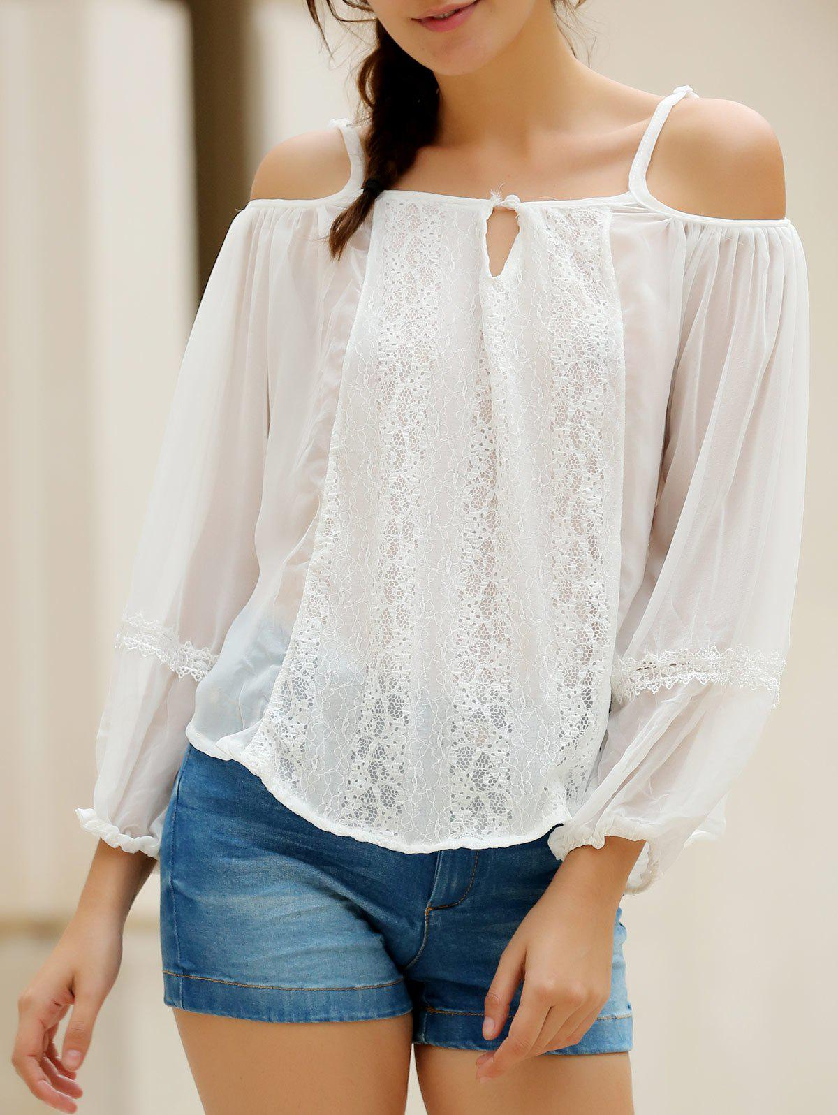 Sexy White Spaghetti Strap Off The Shoulder Long Sleeve Blouse For Women - WHITE S