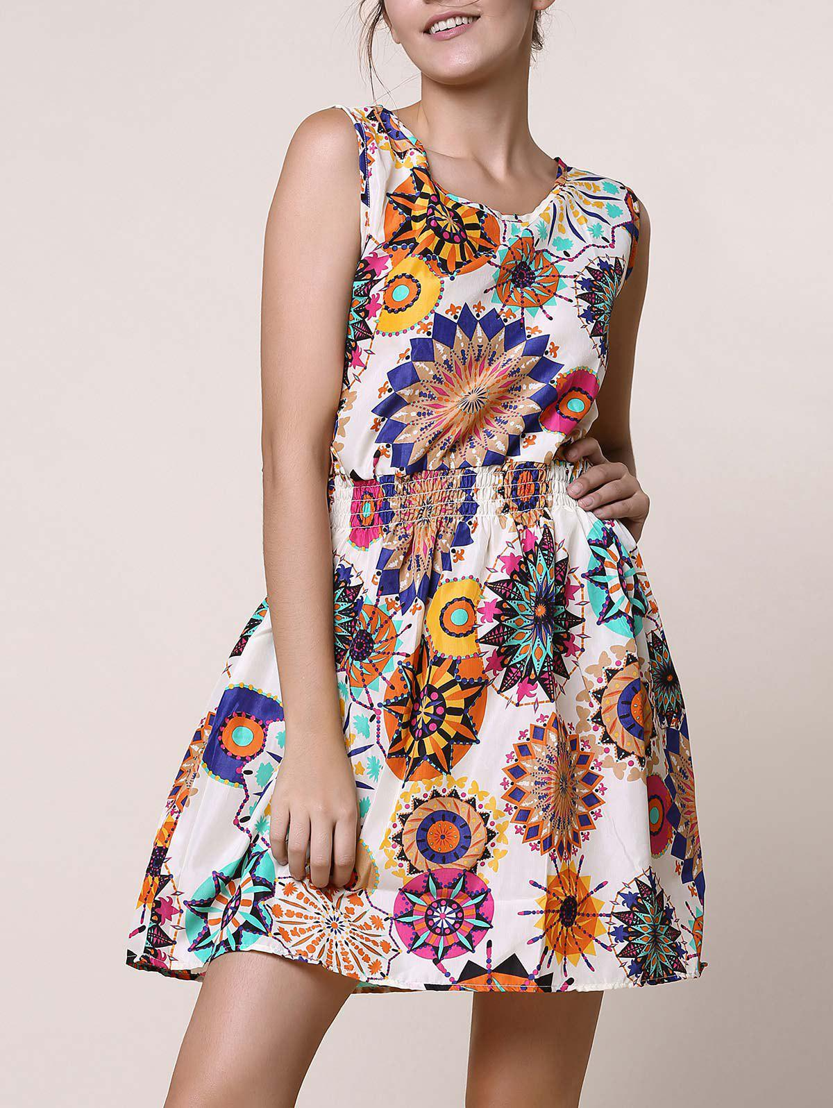 Casual Scoop Neck Sleeveless Floral Print Elastic Waist Women's Dress - COLORMIX S