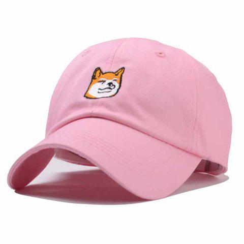 Chic Single Cartoon Dog Head Embroidery Women's Baseball Cap - PINK