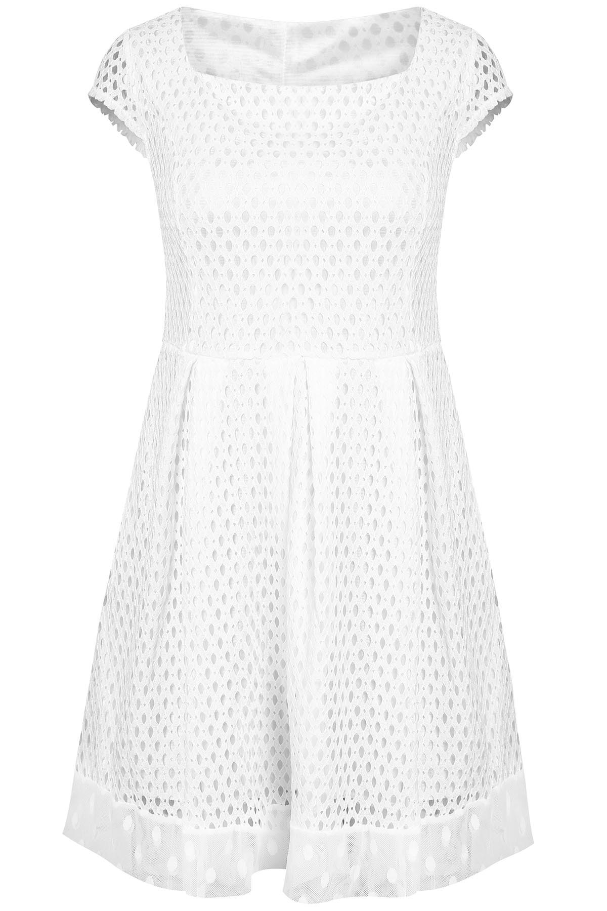 Short Sleeve Square Neck A-Line Dress For Women - WHITE L