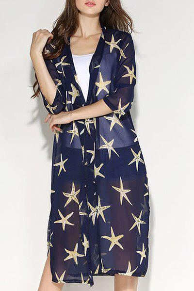 Fashionable Women's Collarless Star Print 3/4 Sleeve Slit Blouse - SAPPHIRE BLUE XL