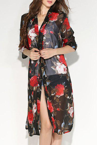 Fashionable Women's Collarless Floral Print 3/4 Sleeve Slit Blouse