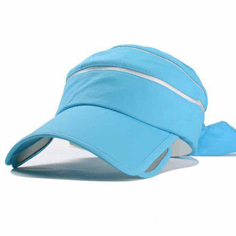 Chic Bow Lace-Up Embellished Open Top Candy Color Women's Visor - LIGHT BLUE