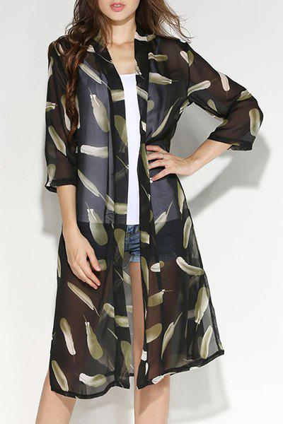 Fashionable Women's Feather Print 3/4 Sleeve Slit Blouse - GREEN M