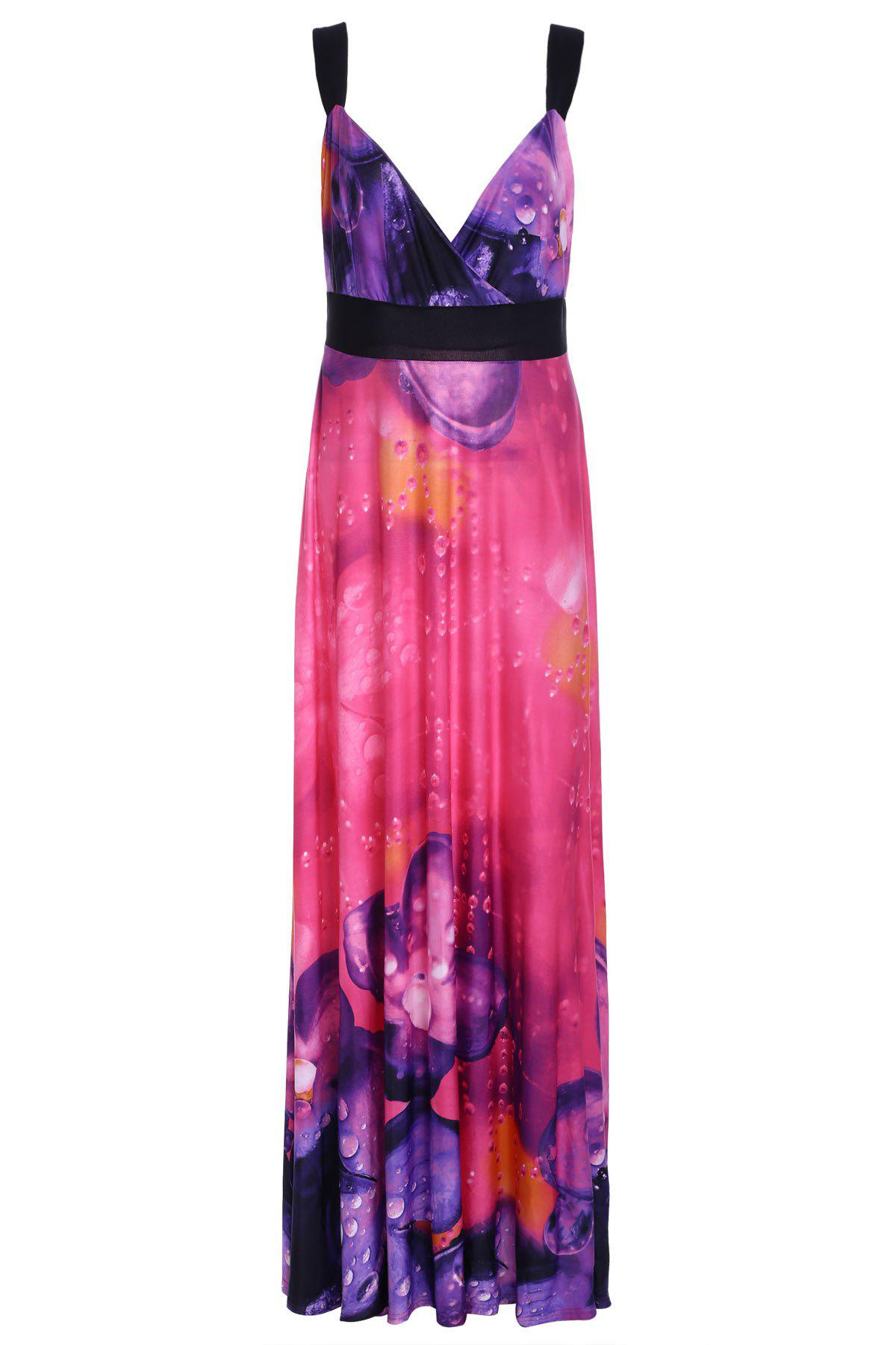 Alluring Women's Plunging Neck Spaghetti Strap Floral Print Maxi Dress - RED XL