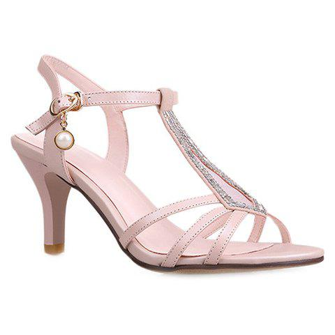 Stiletto Heel T-Strap Sandals - SHALLOW PINK 34