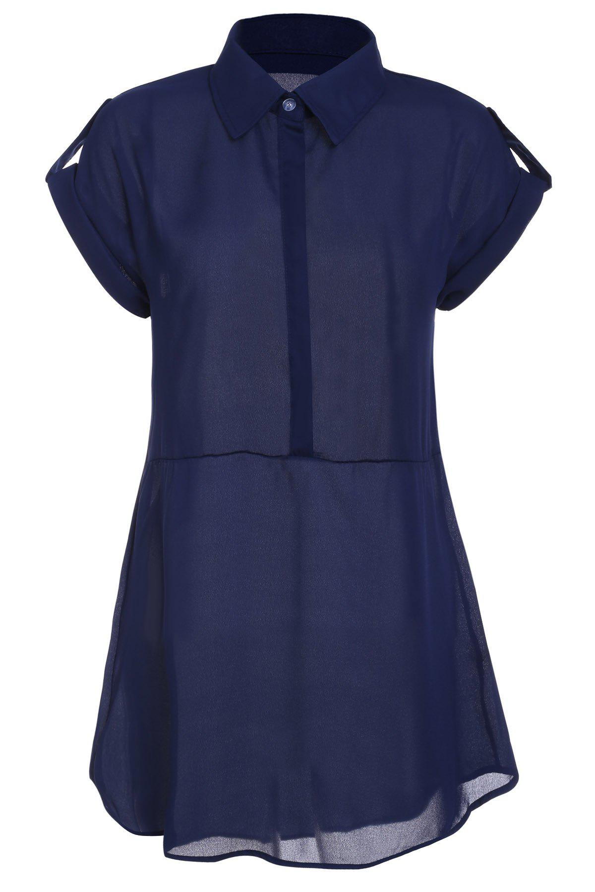 Turn Down Collar Short Sleeve Eqaulets Embellished Packet Buttock Dress - CADETBLUE L