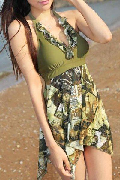 Fashionable Women's Halter Figure Print Asymmetrical Two-Piece Swimsuit
