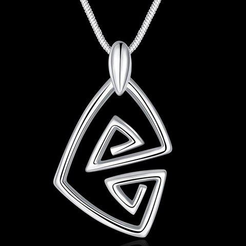Charming Solid Color Geometric Hollow Out Necklace For Women - SILVER