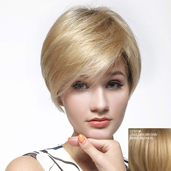 Fashion Multicolor Short Capless Graceful Straight Side Bang Women's Human Hair Wig - GOLDEN BROWN/BLONDE