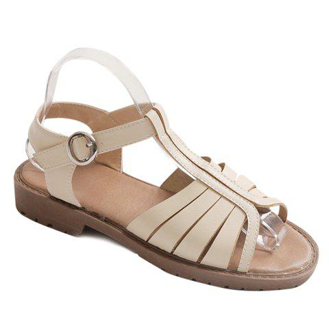 Casual T-Strap and Flat Heel Design Women's Sandals - OFF WHITE 39