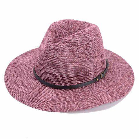 Chic Black Slender Belt Embellished Hollow Out Women's Straw Hat - ROSE
