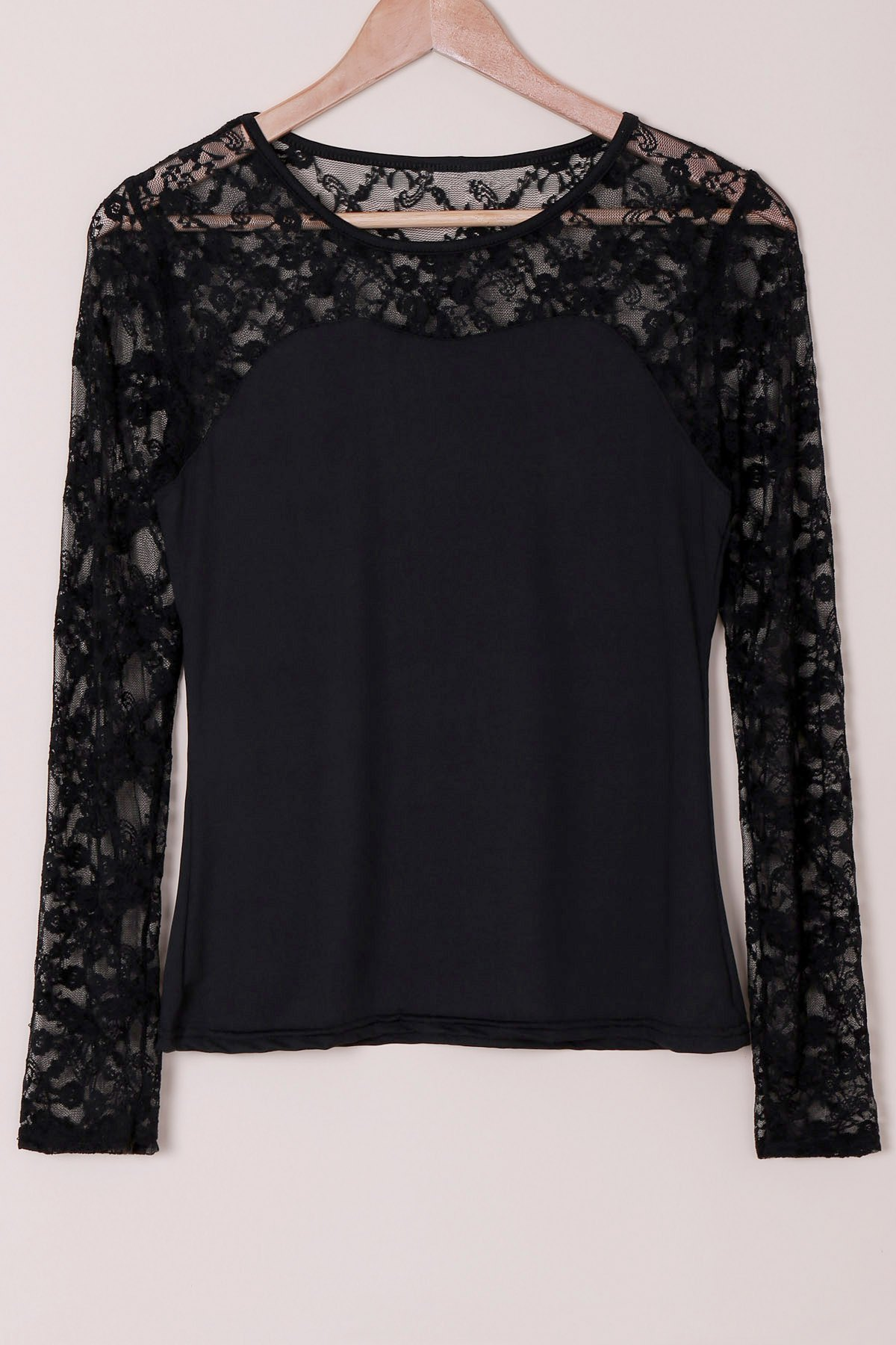 Casual Women's Scoop Neck Long Sleeves Lace Splicing T-Shirt - BLACK L