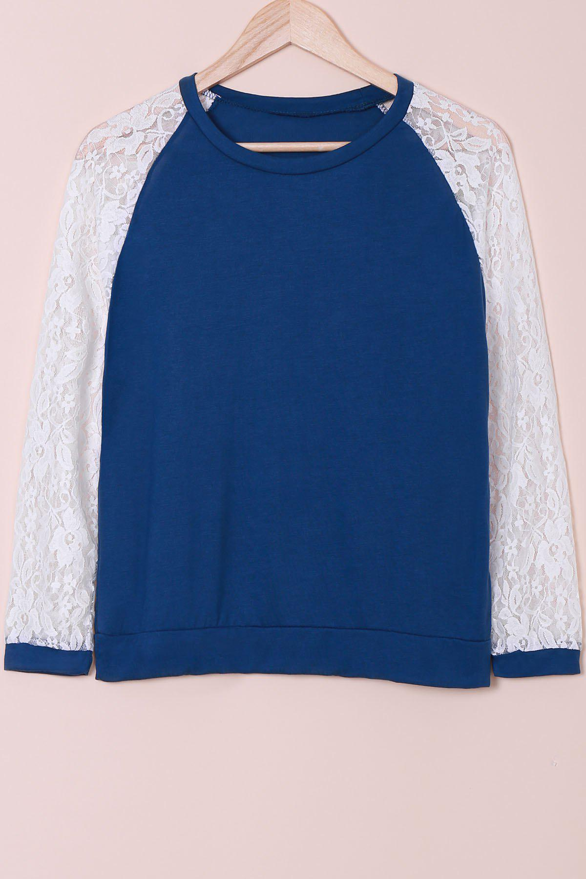Sweet Lace Splicing Round Neck Long Sleeve Sweatshirt For Women - BLUE L