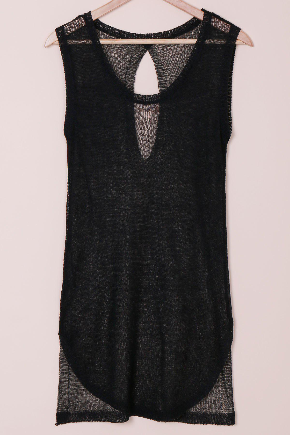 Sexy Scoop Neck Sleeveless Knitted Furcal Women's Cover-Up - BLACK ONE SIZE(FIT SIZE XS TO M)